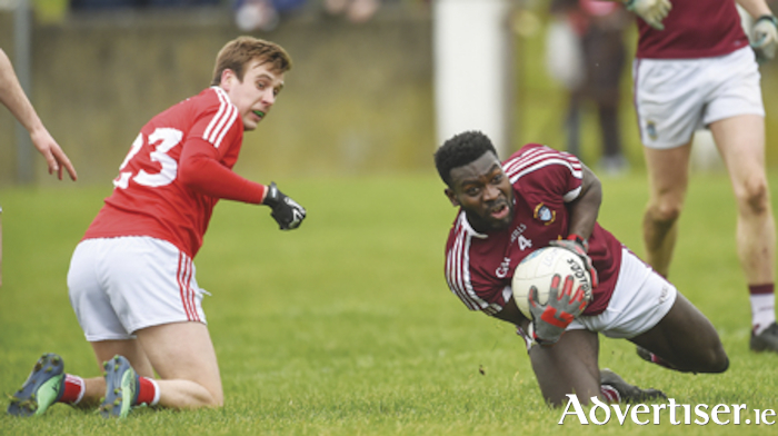 Boidu Sayeh is pictured in action against Louth during Westmeath's Division 3 league campaign last year.  The Rosemount clubman played a pivotal role in the Lake County's success over the same opposition in the O'Byrne Cup on Saturday last.  Photo by Oliver McVeigh/Sportsfile.