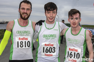 Top three in the Resolution Run on New Year's Day: Craughwell's  Damien O Boyle, second; winner Sean Cotter; and William Fitzgerald, third.  Photo: John O'Connor
