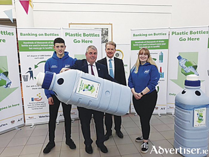 Local Minister of State, Kevin 'Boxer' Moran is pictured with Professor Ciaran O'Cathain, President, Athlone Institute of Technology, as they launched a new eco-initiative with the intention of educating students, staff and the wider community about the circular economy and responsible consumption of plastic.