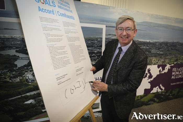 For the launch of NUI Galway's new Strategic Plan 2020-2025, university president, Professor Ciarán Ó hÓgartaigh, signed the United Nations' Sustainable Development Goals Accord on behalf of NUI Galway.