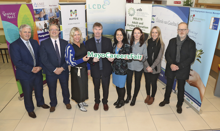 Pictured at the Mayo Careers Fair / Aonach Gairme Mhaigh Eo 2020, which is being organised by Mayo Local Community Development Committee (LCDC) Education & Training Working Group and takes place in GMIT, Castlebar, on Saturday, January 11th, are (left to right): Pat Howley, MSLETB; Michael Gill, GMIT; Orlagh Denneny, Mayo Local Employment Services; Collr Al McDonnell, LCDC; Ann Ronayne, Mayo Co. Co.; Pamela Ni Thaidhg, Údaras na Gaeltachta;  Lorraine Staunton, MSLETB; Donal Hoban, HSE. Photo: Michael Donnelly