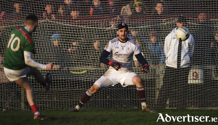 Off the upright: Brian Walsh sees his effort in the penalty shoot-out come off the upright. Photo: Sportsfile