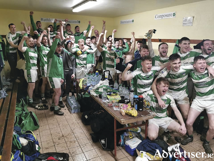 Well deserved celebrations after Oughterard upset the odds to defeat Kerry side Templenoe to advance to the All Ireland Intermediate Club Football final in Croke Park on January 25.