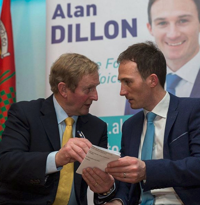 Former Taoiseach Enda Kenny with Fine Gael candidate Alan Dillon at his election launch. Photo: Ger Duffy