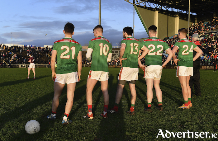 Ready to go: Mayo's five penalty takers Fergal Boland, Brian Walsh, Kevin McLoughlin, Liam Irwin and Gary Boylan line up ahead of the start of the penalty shoot-out last Sunday. Photo: Sportsfile.
