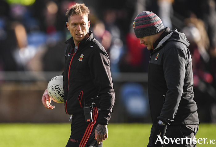 On the road: Mayo selector Ciaran McDonald and manager James Horan will be hoping for a winning start tomorrow night. Photo: Sportsfile