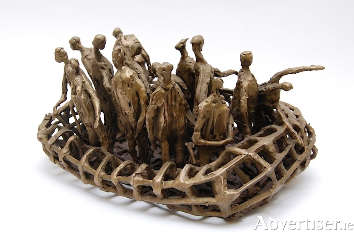 Migrants In Ribbed Boat by John Behan (Bronze, unique, 9x19x14 in)