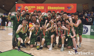 Moycullen celebrate after winning the Hula Hoops U20 Men's National Cup final against UCD Marian at the National Basketball Arena in Tallaght, Dublin.  Photo:  Brendan Moran/Sportsfile