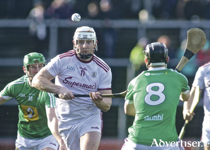 Galway's Joe Canning powers through the Westmeath line in action from the Allianz National Hurling League game at Pearse Stadium on Sunday. 