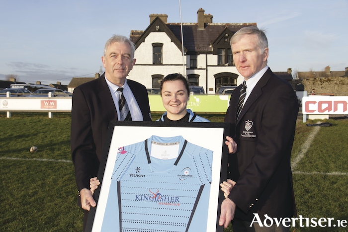 Pictured at the announcement of Kingfisher's sponsorship of team jerseys and gym membership for the Galwegians Women's Rugby Team are: Galwegians president Padraig Moran, Women's captain Mary Healy, and Dick O'Hanlon of Galwegians RFC.