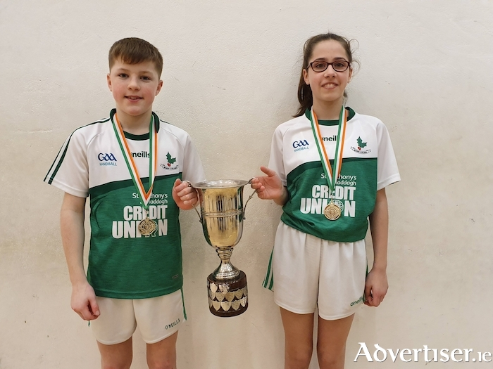 Moycullen Handball stars Mark Gillespie and Cara Hanley winners of the Gael-Linn Trophy this weekend after over coming Monaghan Harps in the final.