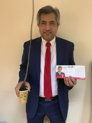 Labour Party candidate Kamal Uddin has traded in election flyers for trees for his election campaign.