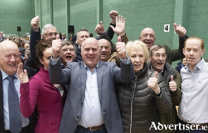 Independent TD Noel Grealish celebrates with supporters on his re-election on Monday. Photos by Mike Shaughnessy