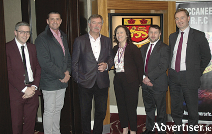 Pictured at the third hosting of the Buccaneers business networking lunch in the Sheraton Athlone Hotel were, l-r, Chris Ball, Alan Quinlan, Des Fitzgerald, Veronica Murray, Michael Hanlon and Paul Glynn.