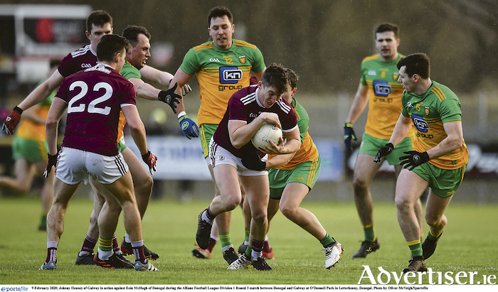 Johnny Heaney of Galway in action against Eoin McHugh of Donegal during the Allianz Football League match at O'Donnell Park in Letterkenny, Donegal. Photo by Oliver McVeigh/Sportsfile