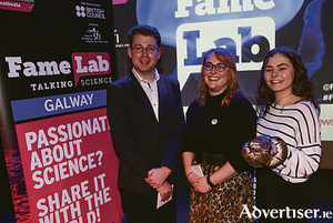 The winning participants at FameLab Galway 2019, from left: James Blackwell, Dr Fiona Malone, and Megan Griffiths. Photo: Aengus McMahon.