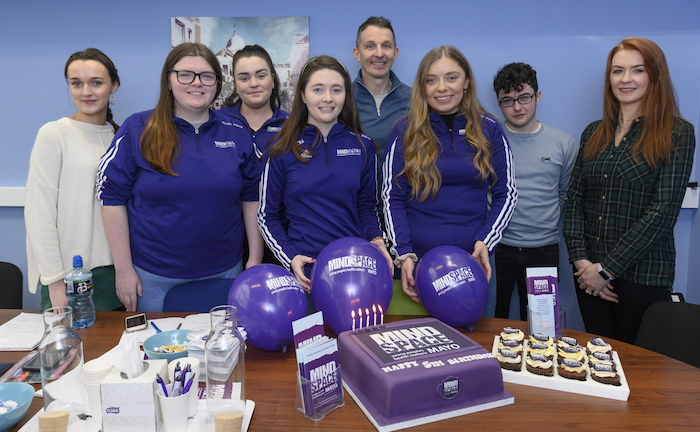 Mindspace celebrates its 5th birthday. Mindspace Youth Panel. L/R Sarah Moran, Róisín Murphy, Clióna Conway, Chloe O'Malley, Peadar Gardiner (Mindspace Manager),  Lisa Gallagher, Dean Kenny and Nikki Kilcullen. Photo: Michael McLaughlin