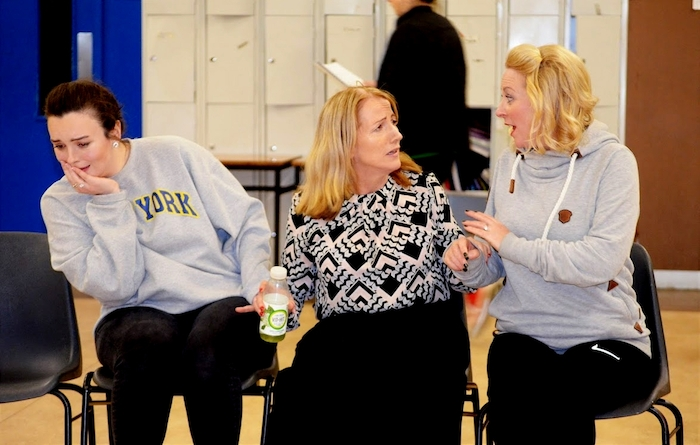 From left: Caragh McGinty (Judy), Siobh?n Campbell (Violet) and Kate Callaghan (Doralee) during rehearsals for Achill Musical and Dramatic Society's production of 9 to 5: The Musical.From left: Caragh McGinty (Judy), Siobhán Campbell (Violet)