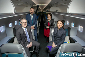 Pictured at Shannon Airport onboard the new A321neo LR aircraft were L-R Donal Moriarty, Chief Corporate Affairs Officer Aer Lingus, Andrew Murphy, Managing Director Shannon Airport, Rose Hynes, Chairman Shannon Group and Mary Considine, CEO Shannon Group. Pic Arthur Ellis.