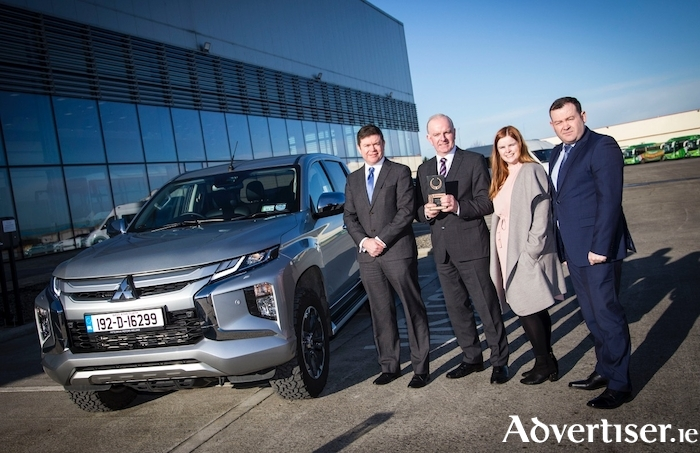 Pictured (L-R): Managing director Mitsubishi Motors Ireland, Gerard Rice;  Tom Dennigan of awards sponsor Continental Tyres Ireland; marketing and PR manager of MMI, Natasha Maher; and national sales manager Jason Byrne.