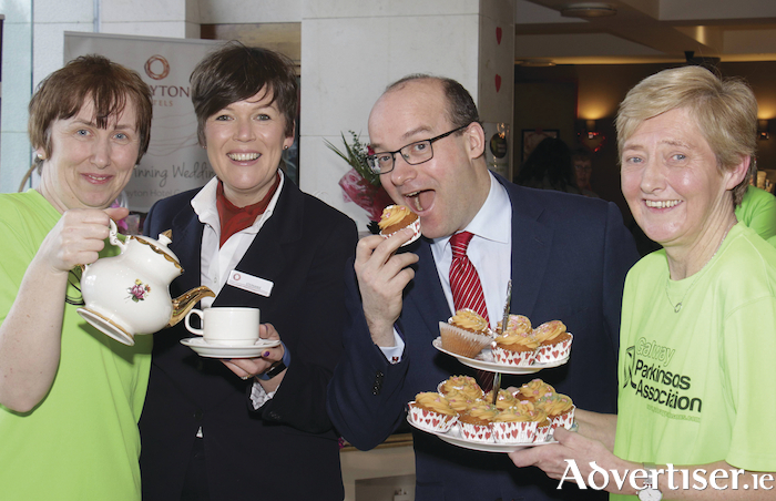 Marie Cahill (left) and Caroline Rushe of the Galway Parkinsons Association with Stephanie Doherty and Rory Fitzpatrick of The Clayton Hotel at the Galway Parkinsons Association Coffee Morning, hosted by the Clayton Hotel on Friday. Photo:-Mike Shaughnessy