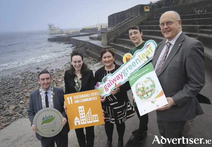 Launching Galway City's European Green Leaf Final Report are the Mayor of Galway City, Cllr. Mike Cubbard; Aiveen Finn, Secretariat, European Green Leaf; Fiona Coen, Environmental Awareness Officer, Galway City Council; Arlene Finn European Green Leaf Coordinator (former), Galway City Council; and Brendan McGrath, Chief Executive, Galway City Council
