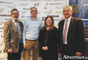 Pictured at the launch of the annual Athlone Chamber of Commerce Business Awards which will take place on Saturday, April 4, were, l-r, John McGrath, President, Athlone Chamber of Commerce, Enda Cannon, LEO Roscommon, Christine Charlton, LEO Westmeath and Gerry McInerney, CEO, Athlone Chamber of Commerce