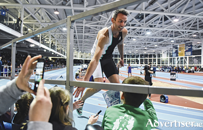 Thomas Barr receives the plaudits from young supporters after finishing third and setting a new PB of 46.44, in the final of the Ireland's Hidden Heartlands Men's 400m event during the International Grand Prix at AIT International Arena in Athlone. Photo by Sam Barnes/Sportsfile.