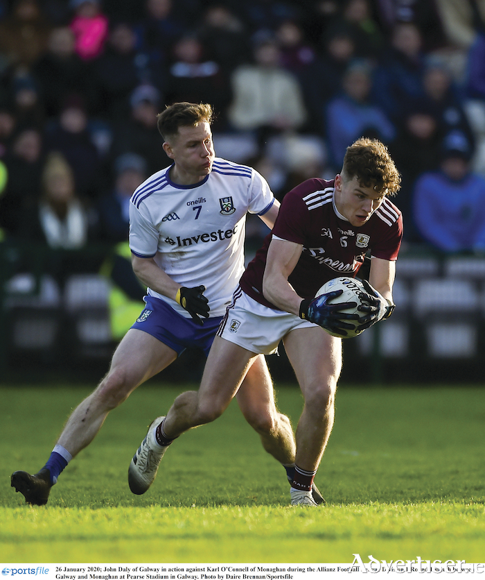 A star in the making: John Daly of Galway in action against Karl O'Connell of Monaghan has been in outstanding form for Galway to date. 
