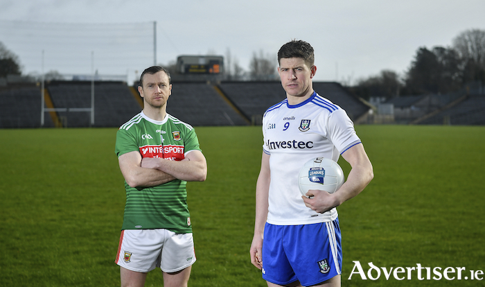 Keith Higgins and Darren Hughes at a media event prior to this weekends clash in Clones in round four of the National Football League. Photo: Sportsfile.