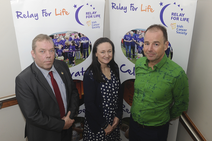 Leon Tunney-Ware, Lorraine Toner and Cllr Peter Flynn in  Westport Town Hall Theatre at the launch of the  Relay For Life Westport. Photo: Conor McKeown
