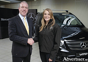 Irish sailor Aoife Hopkins, pictured with her Vito Mixto van and Fergus Conheady, commercial vehicles sales manager of Mercedes-Benz Ireland.