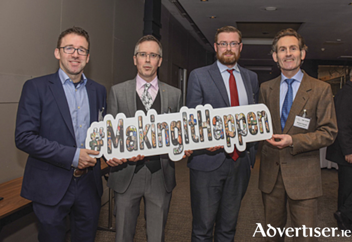 Tom Griffith, Serchek, Ronan Berry, Midlands 103, Ciaran Gorman, Bevcraft and Robert Hernan, Enterprise Ireland pictured at the formal launch of Local Enterprise Week which takes place from March 2-6 inclusive