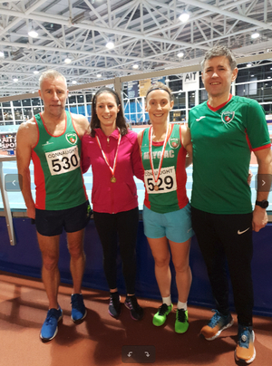 Mayo AC competitors at Connacht Indoors: l-r Tom Prendergast, Norah Newcombe Pieterse, Paula Donnellan Walsh, Tony O'Malley