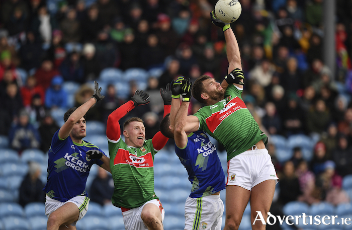 Up in the air: Aidan O'Shea battles for the ball against Kerry. Photo: Sportsfile