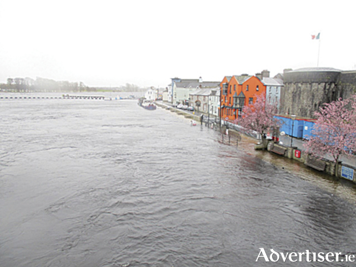 The scene from the town bridge in Athlone as flood waters swelled last weekend