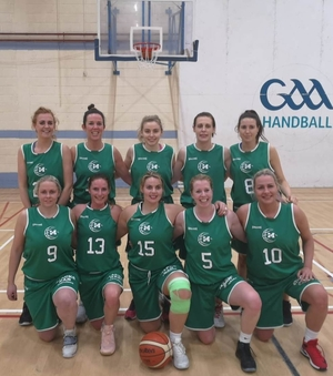 The Jubilant Mustangs' squad. Back row: Fiona Feeney, Karen Mulherin, Cliodhna Mac Cabe, Anita Hoban, Maria Hall. Front row: Claire Nolan, Sinead Hughes, Louise Harte, Siobhan Kilkenny, Indre Majauskaite Gusciuviene.