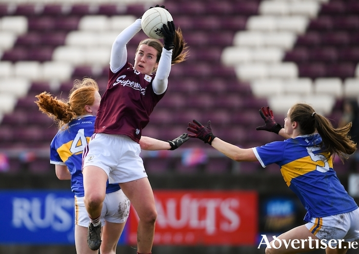 Roisin Leonard of Galway in action against Emma Cronin, left, and Maria Curley of Tipperary during the 2020 Lidl Ladies National Football League division one round five match at Tuam Stadium.			Photo by Ramsey Cardy/Sportsfile