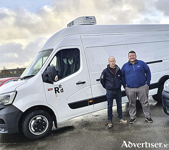 Mick Shaw, Managing Director Shaw Commercials and Kevin O'Grady Sales Executive at Shaw Commercials with 2020 Renault Master Red Addition
