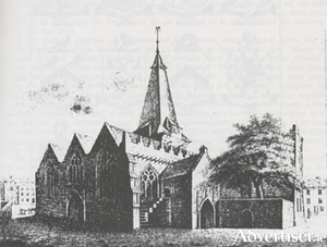 An engraving of St Nicholas' Collegiate church from Hardiman's History 1820.
