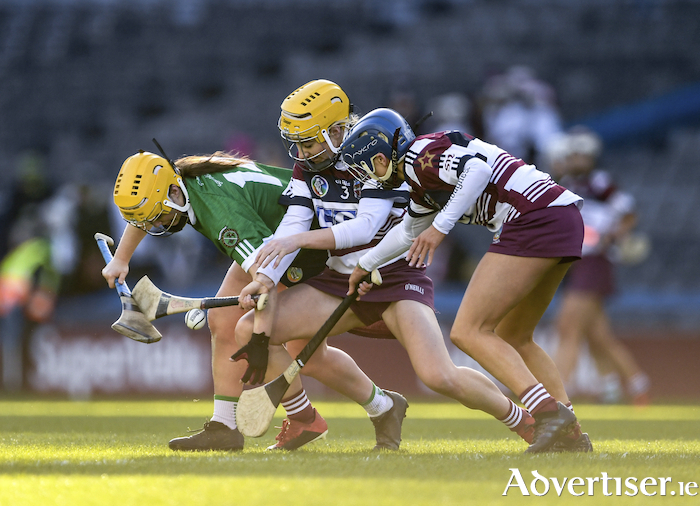 Siobhan McGrath of Sarsfields, in action against Josie McMullan of Slaughtneil in the AIB All-Ireland Senior Camogie Club Championship final, is the Connacht Camogie Player of the Year, and one of six of the winning Sarsfields' team to be named in the Camogie Team of the Year.