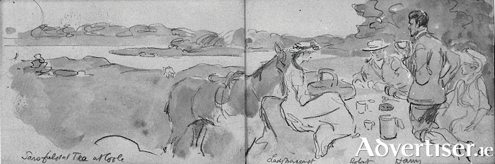 A sketch by Jack B Yeats of a picnic tea at Coole, on a summer's day, near the lake. Left to right: Robert Gregory's horse 'Sarsfield', Lady Margaret Sackville, Robert, T A Harvey (Robert's tutor, later Bishop of Cashel), and Jack's wife Cottie (From A Guide to Coole Park by Colin Smythe).