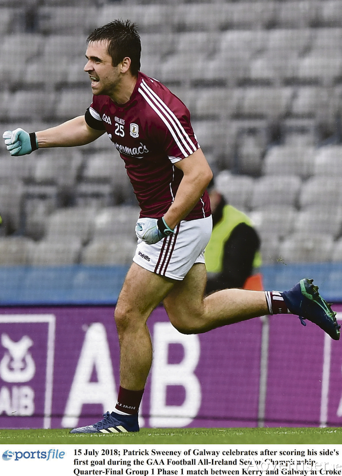15 July 2018: Patrick Sweeney of Galway celebrates scoring his side's first goal during the GAA Football All-Ireland Senior Championship quarter-final and victory over Kerry at Croke Park, Dublin. Photo:  David Fitzgerald/Sportsfile