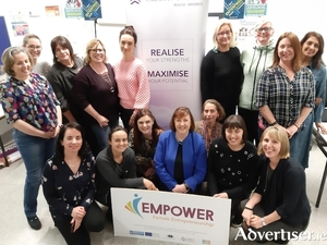 Members of the EMPOWER 2019/20 pictured in 2019. Back, L to R: Catriona Fahey (Boyle, Roscommon), Suzanne Carney (Claremorris, Mayo), Lou Brennan (Pontoon, Mayo), Finola McDermott (Westport, Mayo), Olga Klofac (Charlestown, Mayo), Janine McGinn (Castlebar, Mayo) Louise Loughlin  (Galway), Nancy O Reilly (Ballyhaunis, Mayo), Anita Patil (Boyle, Roscommon).Front, L to R: Trainer Claire Scanlon (Galway), Anya Aseeva  (Clonbur, Mayo), Deirdre Hardcastle (Ballintubber, Mayo), Asumpta Gallagher (Galway), Aneli Watson (Westport, Mayo), Cepta Mahon (Galway), Maria Staunton, EMPOWER Programme Manager, GMIT.