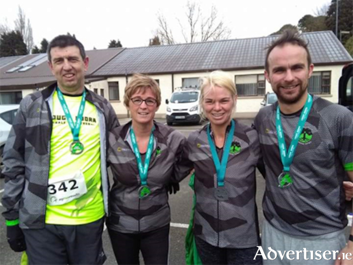 MARG runners, l-r, Francis Connolly, Laura Nally, Emma Canning and Johnny Minagh, are pictured following their completion of the Lough Boora half marathon
