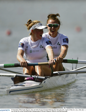Aifric Keogh (right) with former partner Emily Hegarty when they finished first in the Women's Pair semi-final race at the World Rowing Championships.  