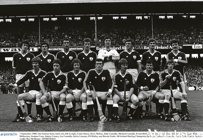 7 September 1980: All Ireland champions Galway.  Back row, l-r,  Conor Hayes, Steve Mahon, John Connolly, Michael Connolly, Frank Burke, Noel Lane, Sean Silke, front row, l-r, Niall McInerney, Seamus Coen, Jimmy Cooney, Joe Connolly, Sylvie Linnane, PJ Molloy, and Bernie Forde. Photo by Ray McManus/Sportsfile