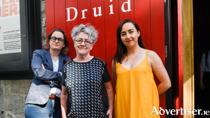 Sonya Kelly, Cristín Kehoe, and Garry Hynes at the launch of Druid's Season of New Writing at The Mick Lally Theatre during Galway International Arts Festival 2018 ,which featured the premieres of two previous debuts, Furniture by Sonya Kelly and Shelter by Cristín Kehoe. Photo:- Boyd Challenger.