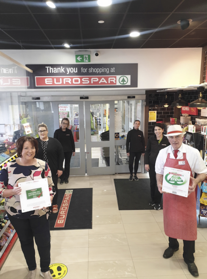 Annette Howard, Aileen Howard, Caroline Lally, Justyna Kunkel, Margaret Ann Connolly and Tony Joyce from EuroSpar Belmullet pictured with their awards.