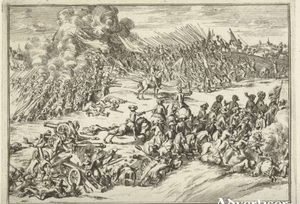 A Dutch contemporary engraving of the battle of Aughrim - probably the moment of Mackay's charge.